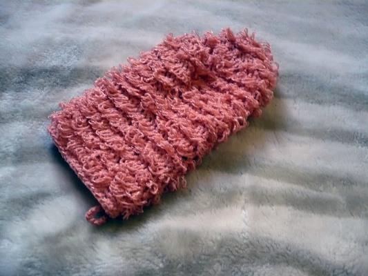 вязание крючком мочалки варежки с вытянутыми петлями